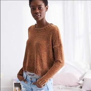 Chestnut cropped aerie chenille sweater
